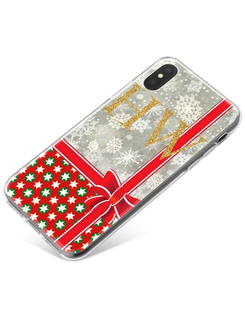 Grey Snowflakes Pattern With Red Christmas Wrapping phone case available for all major manufacturers including Apple, Samsung & Sony