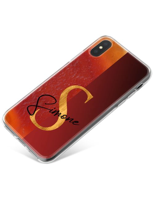 Half Orange Gold Agate, Half Deep Red phone case available for all major manufacturers including Apple, Samsung & Sony