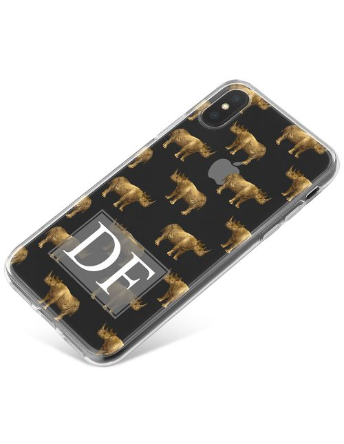 Transparent with Golden Repeating Rhino Pattern phone case available for all major manufacturers including Apple, Samsung & Sony