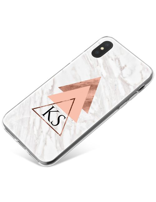 Geometric Pyramids On White And Grey Marble phone case available for all major manufacturers including Apple, Samsung & Sony
