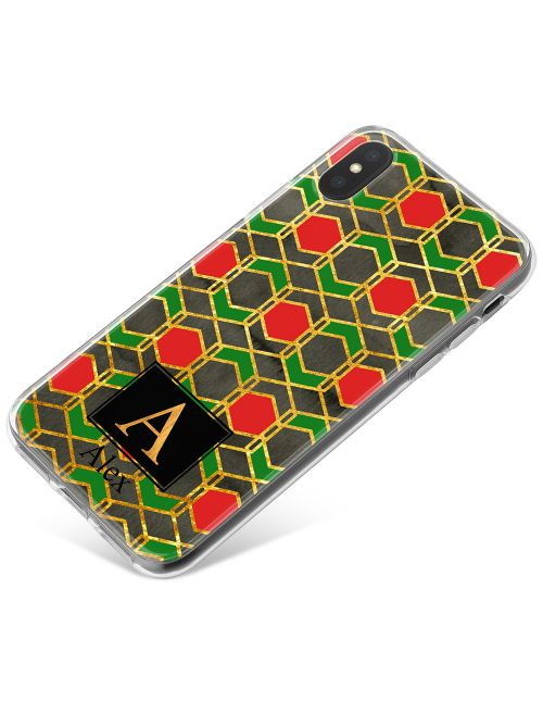 Red Gold And Green Harlequin Geometric Design phone case available for all major manufacturers including Apple, Samsung & Sony