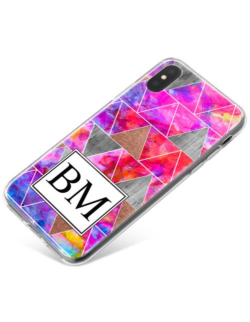 Modern Watercolour And Metallic Geometric Design  phone case available for all major manufacturers including Apple, Samsung & Sony