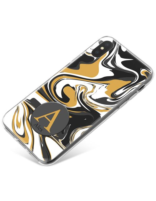 Grey And Gold Marbled Ink phone case available for all major manufacturers including Apple, Samsung & Sony