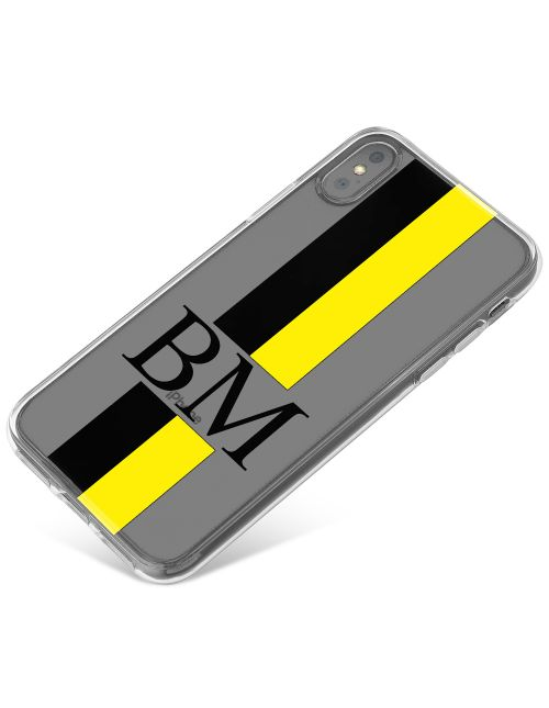 Black And Yellow Racing Stripes phone case available for all major manufacturers including Apple, Samsung & Sony