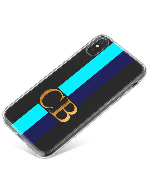 Bright Blue Racing Stripes phone case available for all major manufacturers including Apple, Samsung & Sony