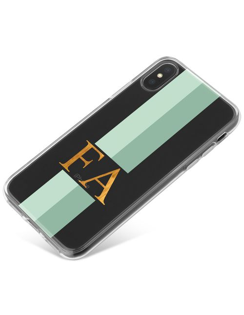 Mint Green Racing Stripes phone case available for all major manufacturers including Apple, Samsung & Sony