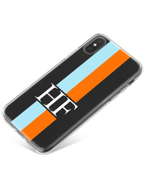 Orange And Blue Racing Stripes phone case available for all major manufacturers including Apple, Samsung & Sony