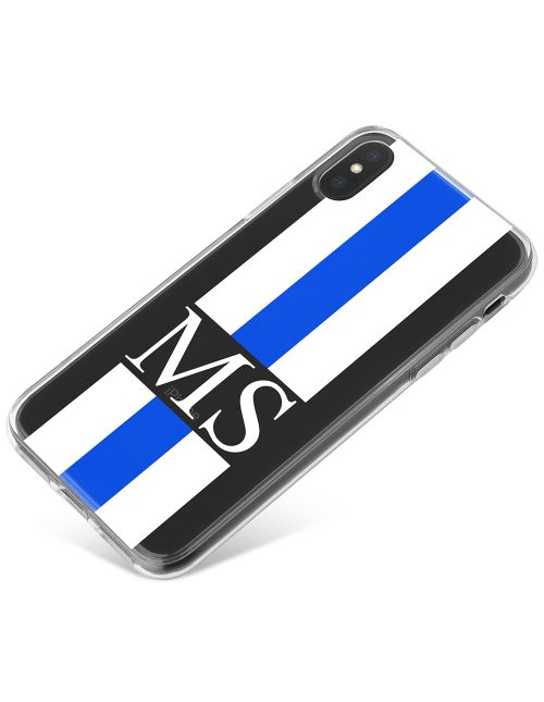 White And Blue Racing Stripes phone case available for all major manufacturers including Apple, Samsung & Sony