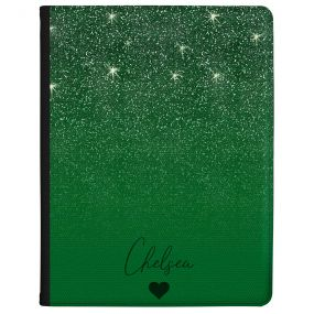 Green Glitter Effect tablet case available for all major manufacturers including Apple, Samsung & Sony