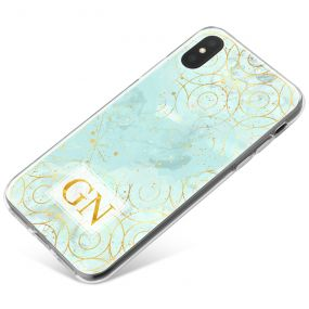 Ice Blue blue marble with gold pattern phone case available for all major manufacturers including Apple, Samsung & Sony