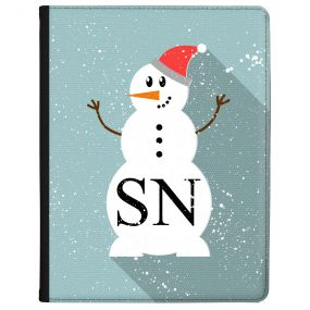Beautiful Snowman with Santa Hat on a blue background tablet case available for all major manufacturers including Apple, Samsung & Sony