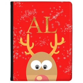 Peeking Rudolph on a Red Background tablet case available for all major manufacturers including Apple, Samsung & Sony