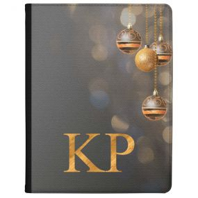 Baubles with Golden Bokeh on a Grey Background tablet case available for all major manufacturers including Apple, Samsung & Sony