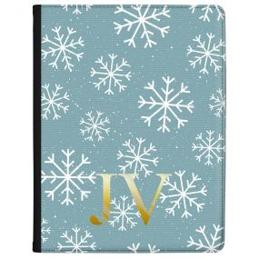 White Snowflakes on A Cool Blue Background with Gold Text tablet case available for all major manufacturers including Apple, Samsung & Sony