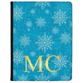 Ice Blue Background with Crystal Snowflakes and Gold Text tablet case available for all major manufacturers including Apple, Samsung & Sony