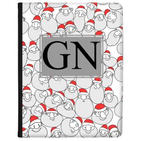 Santa Pattern with Black Initials tablet case available for all major manufacturers including Apple, Samsung & Sony