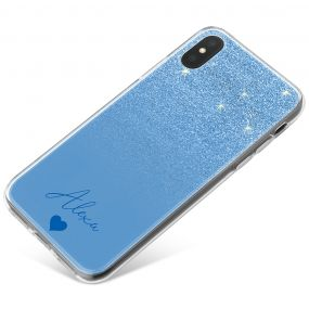 Blue Glitter Effect phone case available for all major manufacturers including Apple, Samsung & Sony